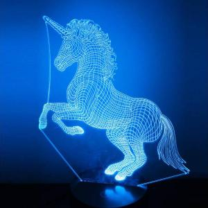 lampe hologramme licorne bleu