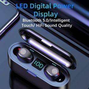 Écouteurs sans fil F9 avec son cristallin et affichage numérique de la puissance LED